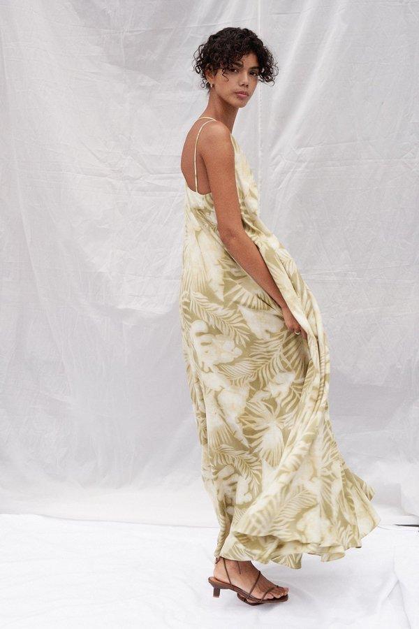 Tropical Print M-Strap Long Dress