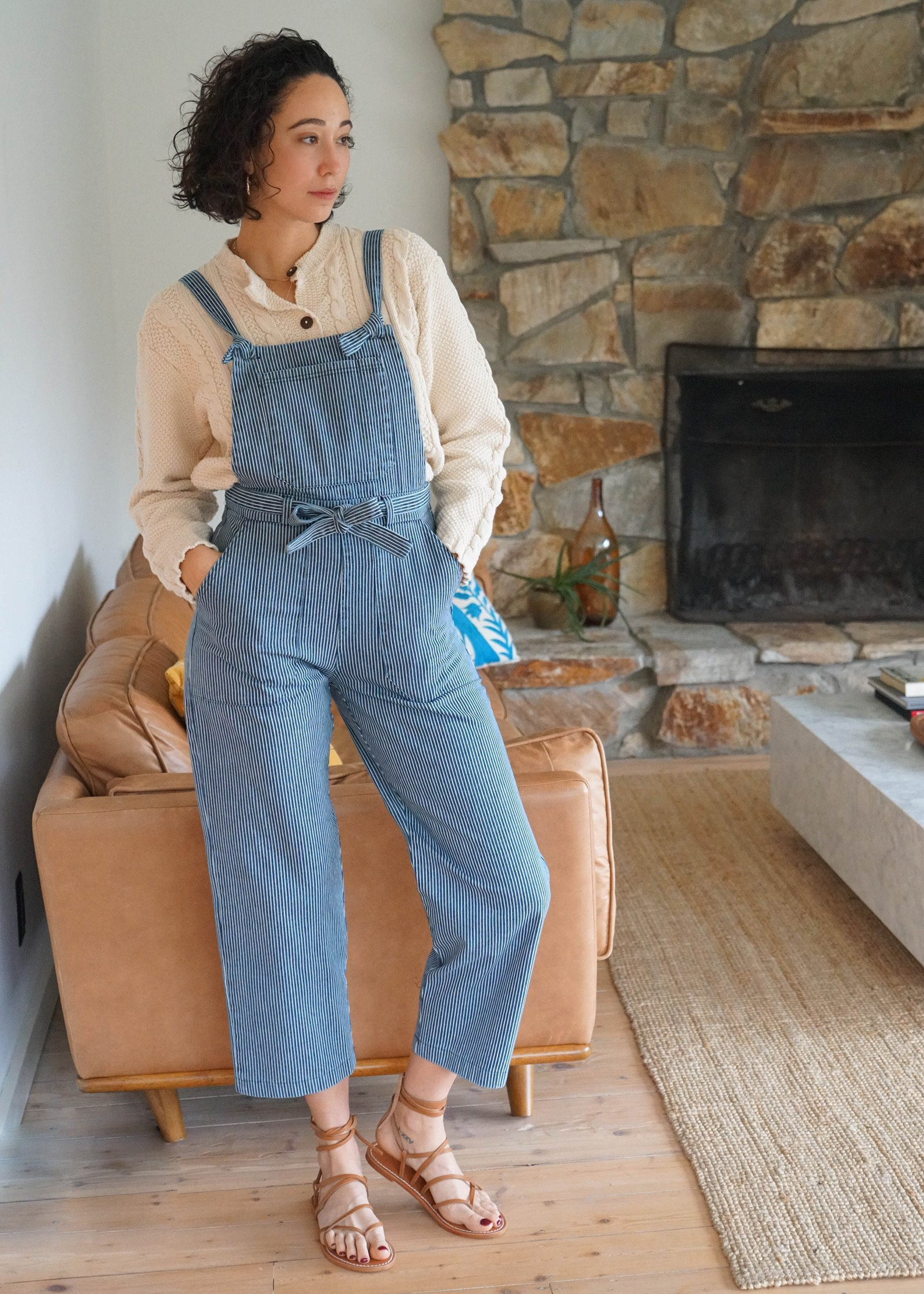 Vintage Overalls & Jumpsuits Mabel and Moss Loup Fiona Stripe Overalls - Railroad $198.00 AT vintagedancer.com