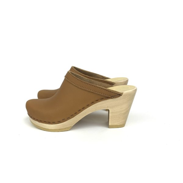 No. 6 Old School Clog on High Heel - Palomino
