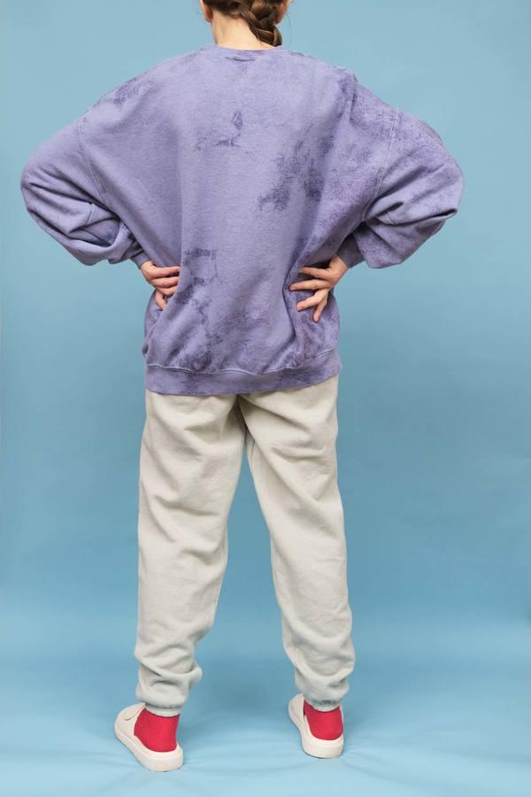 WOLF & GYPSY VINTAGE Hand Tie Dye Oversized Sweatshirt - Cornflower Blue