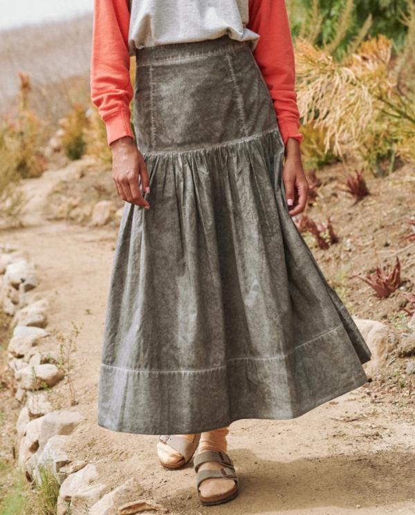 The Great. The Seascape Skirt - Black Fog Wash