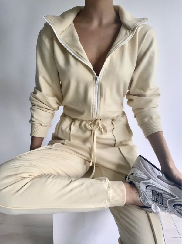 Parentezi Pima Cotton French Terry Jumpsuit - Nude