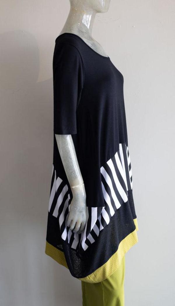 Luukaa Knit Stripe Tunic - Black
