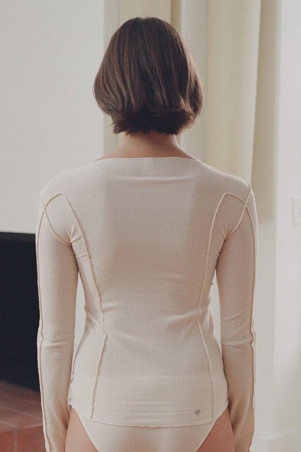 Baserange Organic Cotton Omato Long Sleeve Top - Ecru