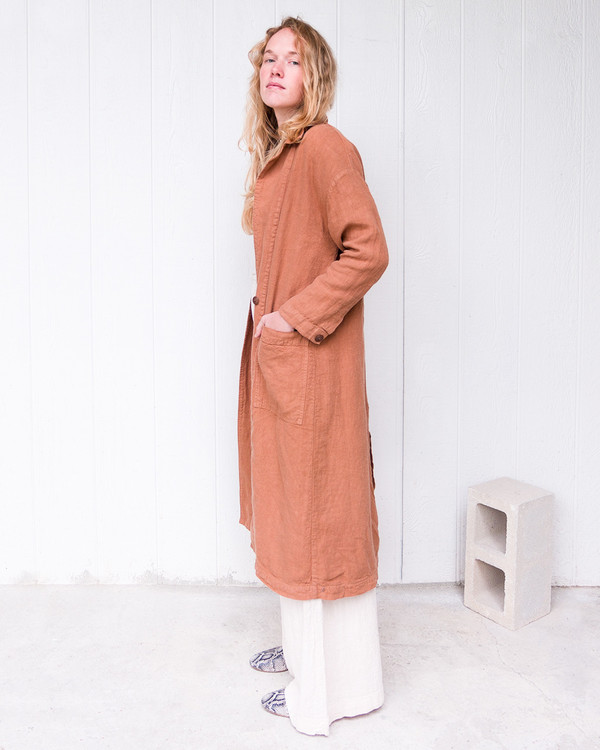 Esby Baronne Linen Duster - Clay