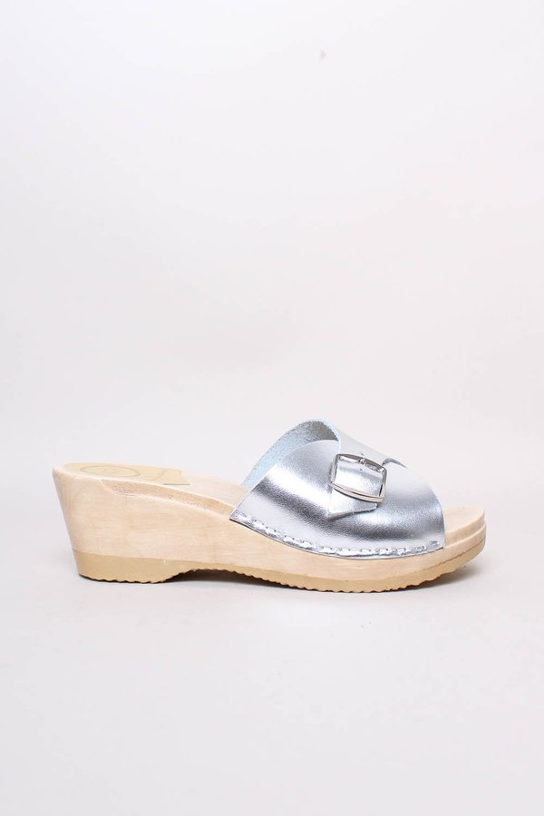 No.6 Abuela Clog on Mid Wedge shoes - Silver