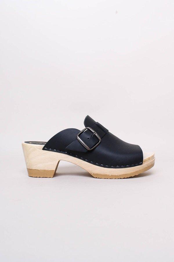 Riley Open Toe Clog on Mid Heel shoes - Black