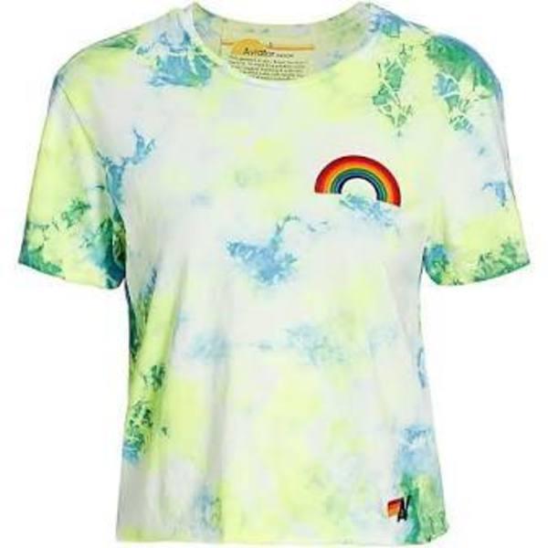 Aviator Nation Rainbow Embroidery Boyfriend Tee - Tie Dye