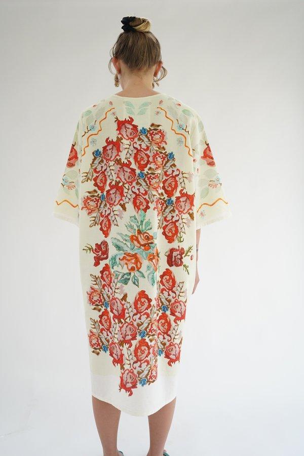 Anntian Pale Yellow Flower Paint T-Shirt Dress
