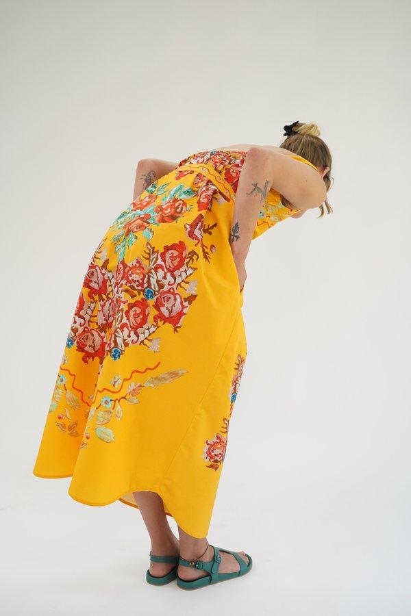 Anntian Dress - Yellow Flower Print