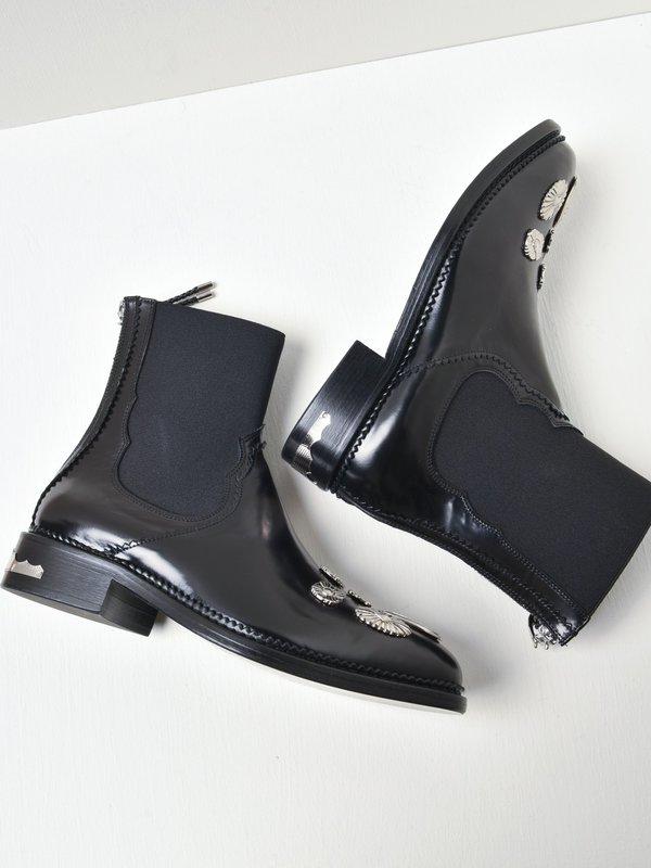 AJ990_Black Suede Hardware Boots_BLACK LEATHER