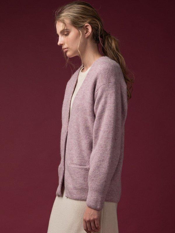 Alpaca Curved Sleeve Cardigan_Light Purple
