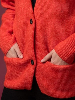 Alpaca Curved Sleeve Cardigan_Red Orange