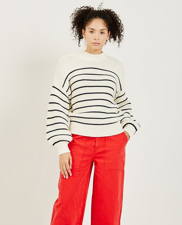 Alex Mill Button-Back Crewneck Sweater - Off White/Navy