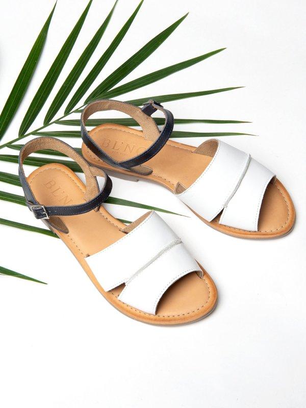 Ankle Strap Sandal_CB_White/Navy