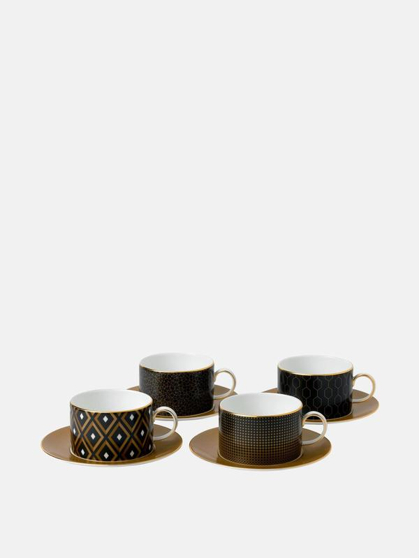 Arris Accent Teacup n Saucer, Set of 4