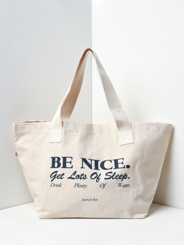 Sporty & Rich Be Nice Tote - Natural/Navy