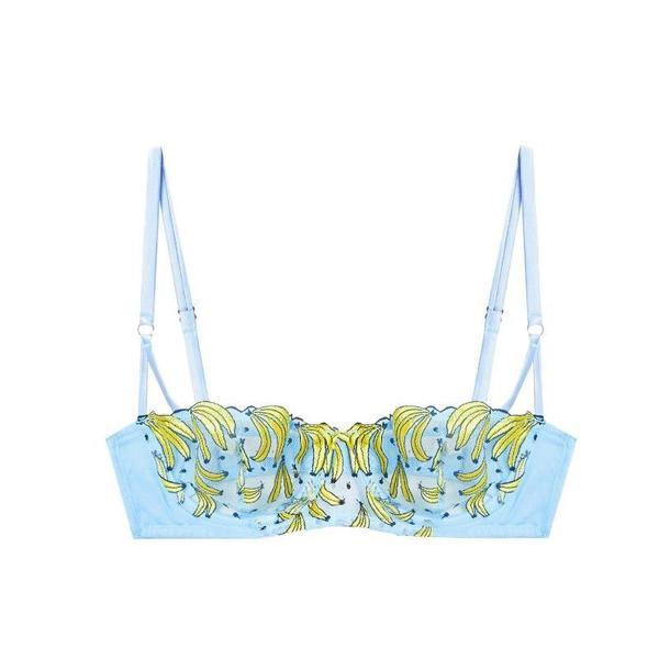Fleur du Mal Banana Embroidery Balconette Bra - Ice Queen