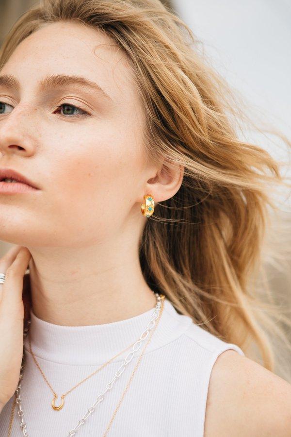 Sierra Winter Jewelry Eve Hoop Earrings - Gold Vermeil/Turquoise