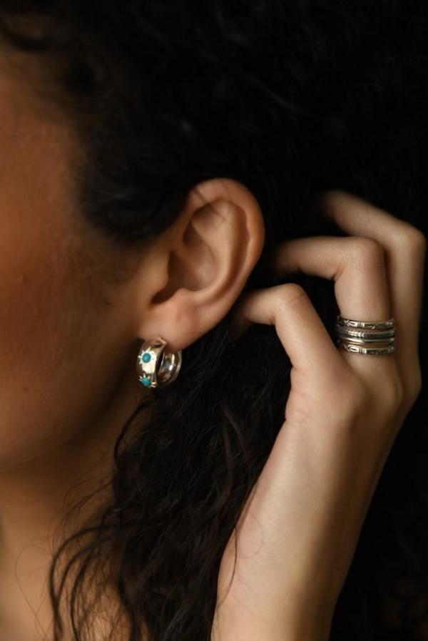 Sierra Winter Jewelry Eve Hoop Earrings - Sterling Silver/Turquoise