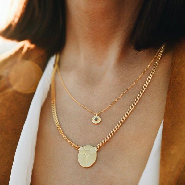 Sierra Winter Jewelry Evil Eye Necklace - Gold Vermeil/London Blue Topaz