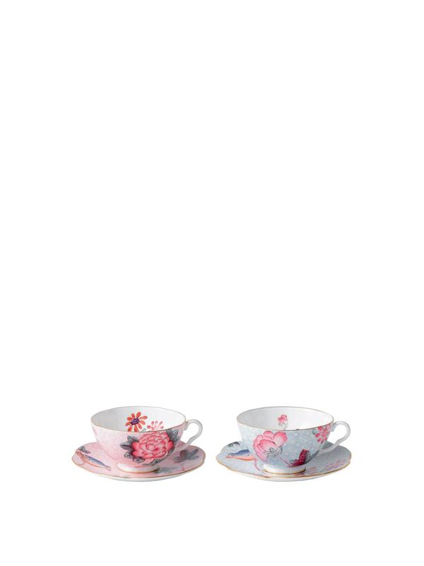Cuckoo Pink and Blue Teacup and Saucer S2