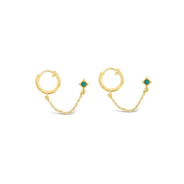 Sierra Winter Jewelry Thelma & Louise Hoop Earrings - Gold Vermeil/Turquoise