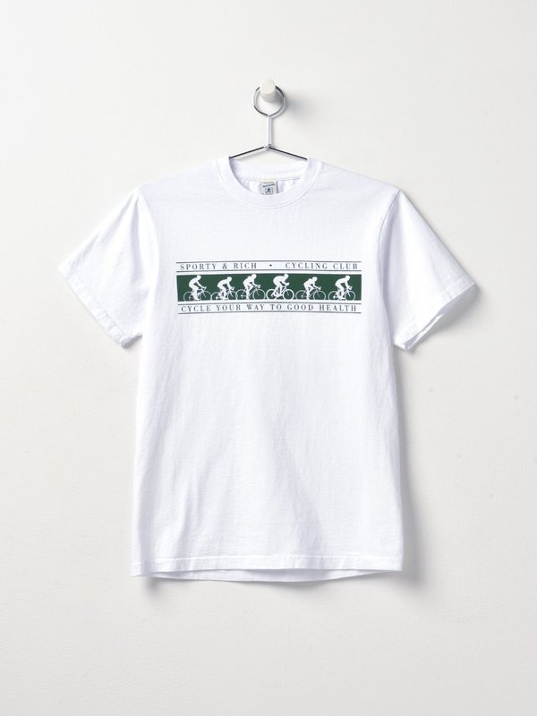 Cycling Club T Shirt_White/Forest