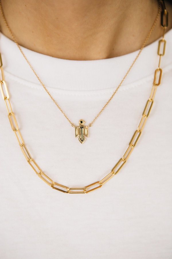 Sierra Winter Jewelry Thunderbird Necklace - Gold Vermeil/Black Diamond