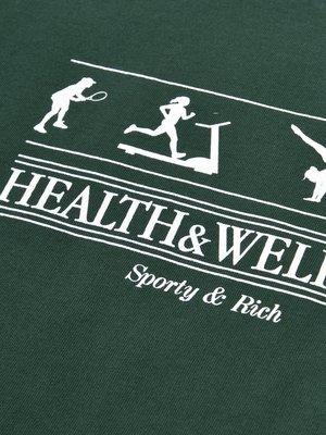 Health, Wellness Crewneck_Forest Green/White