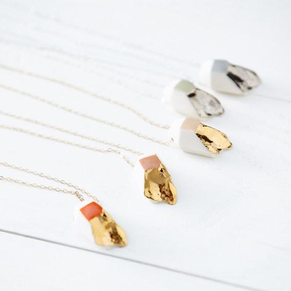 Redraven Studios Tiny Porcelain Crystal Necklace