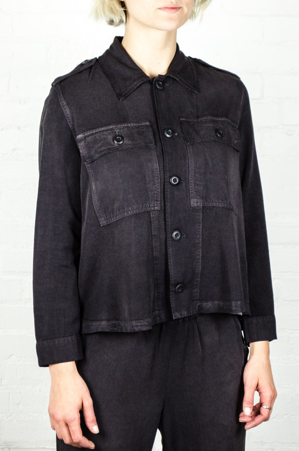2d58aca84d AMO Washed Black Army Ruffle Army Shirt Jacket. sold out. amo denim