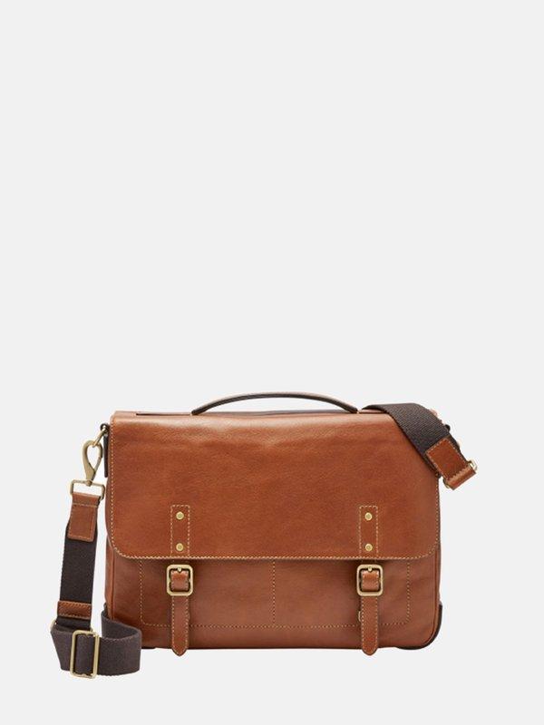 FOSSIL Defender Portfolio Briefcase - Cognac
