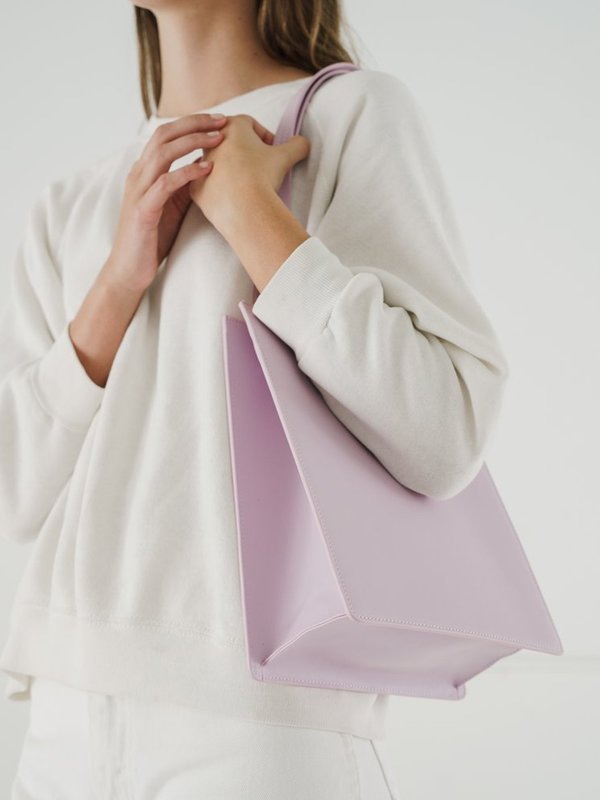MEDIUM LEATHER RETAIL TOTE_PALE ORCHID