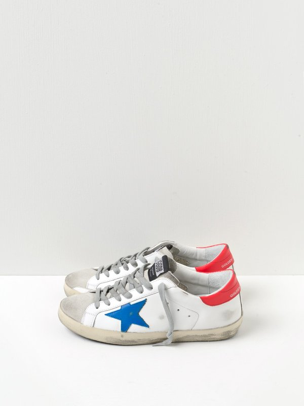 M_SNEAKERS SUPERSTAR_BLU STAR-RED LEATHER