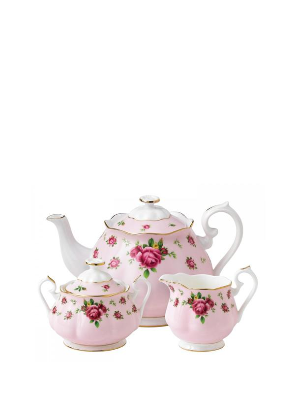 New Country Roses Pink 3-Piece Tea Set