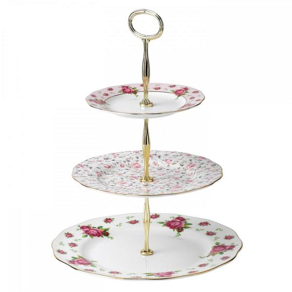 New Country Roses White Vintage 3-Tier Cake Stand