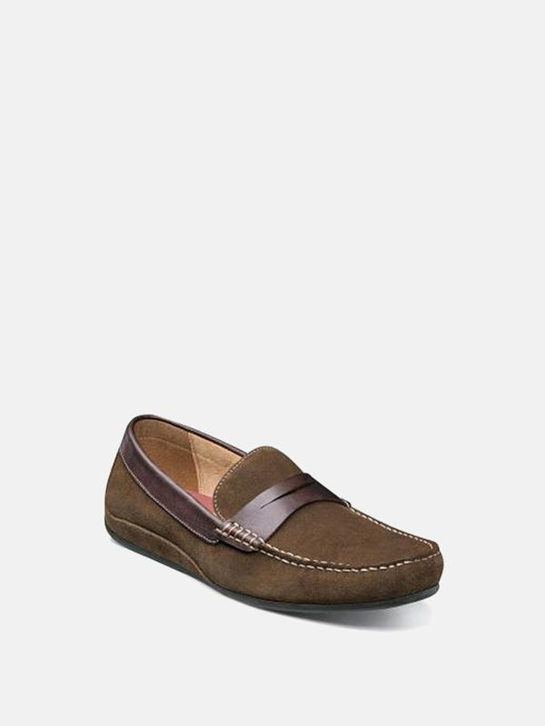 Florsheim OVAL MOC TOE PENNY DRIVER shoes - MUSHROOM SUEDE/BROWN SMOOTH