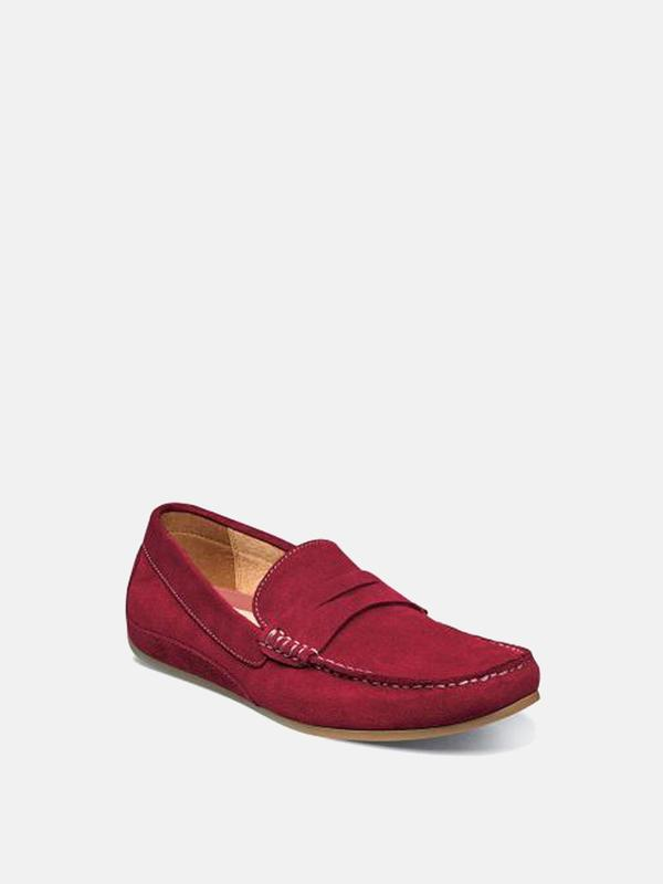 Florsheim OVAL MOC TOE PENNY DRIVER shoes - RED SUEDE