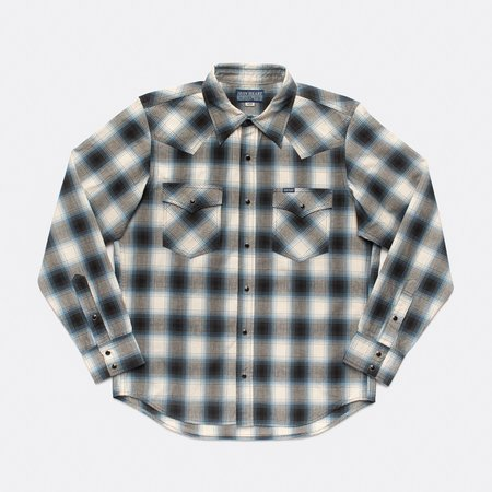 Iron Heart IHSH-280 Ombre Check Madras Western Shirt - Blue