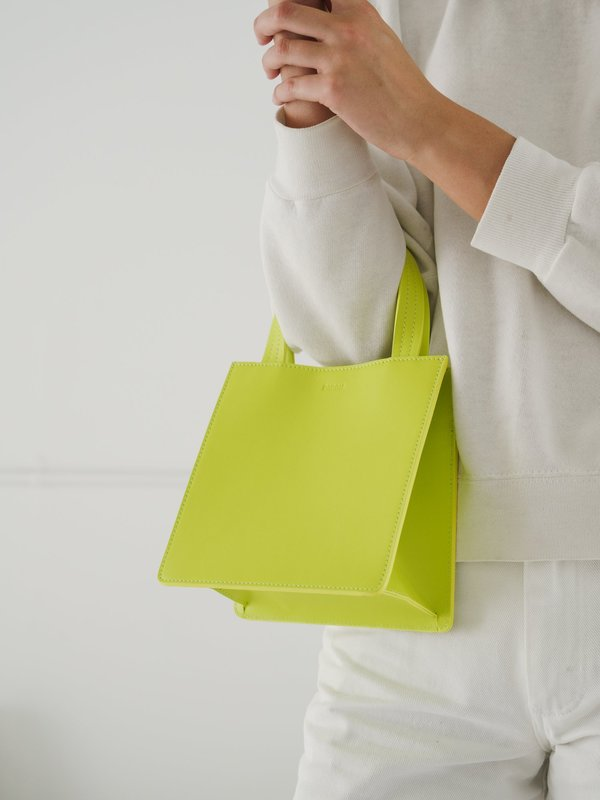 SMALL LEATHER RETAIL TOTE_CHARTREUSE