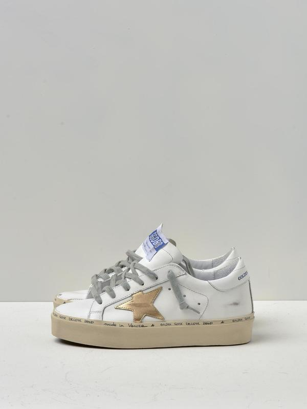 SNEAKERS HI STAR_WHITE GOLD LEATHER STAR