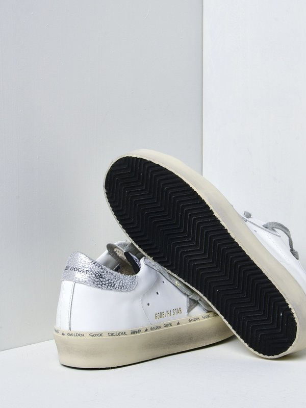 SNEAKERS HI STAR_WHITE LEATHER SHINY STAR