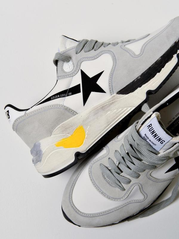 SNEAKERS RUNNING SOLE_WHITE LYCRA BLACK STAR