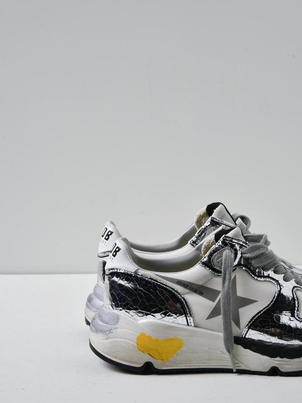 SNEAKERS RUNNING SOLE_WHITE SILVER GLITTER