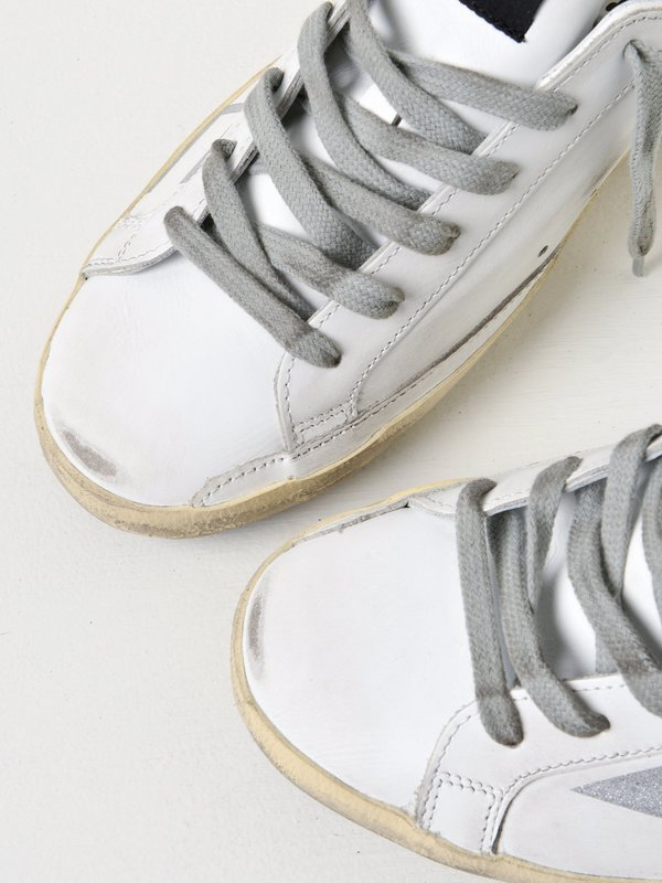 SNEAKERS SUPERSTAR _WHITE LEATHER SILVER GLITTER