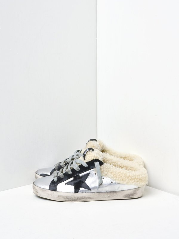SNEAKERS SUPERSTAR_SILVER BLACK LEATHER SHEARLING