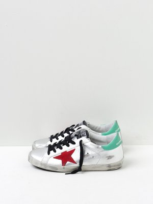 SNEAKERS SUPERSTAR_SILVER LAMINATED RED STAR