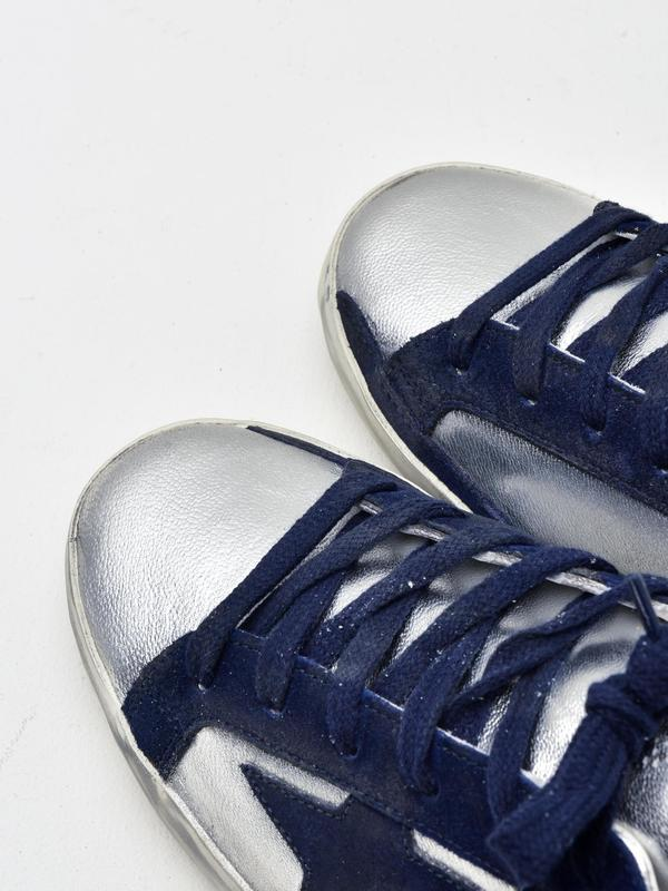SNEAKERS SUPERSTAR_SILVER LEATHER-NAVY STAR
