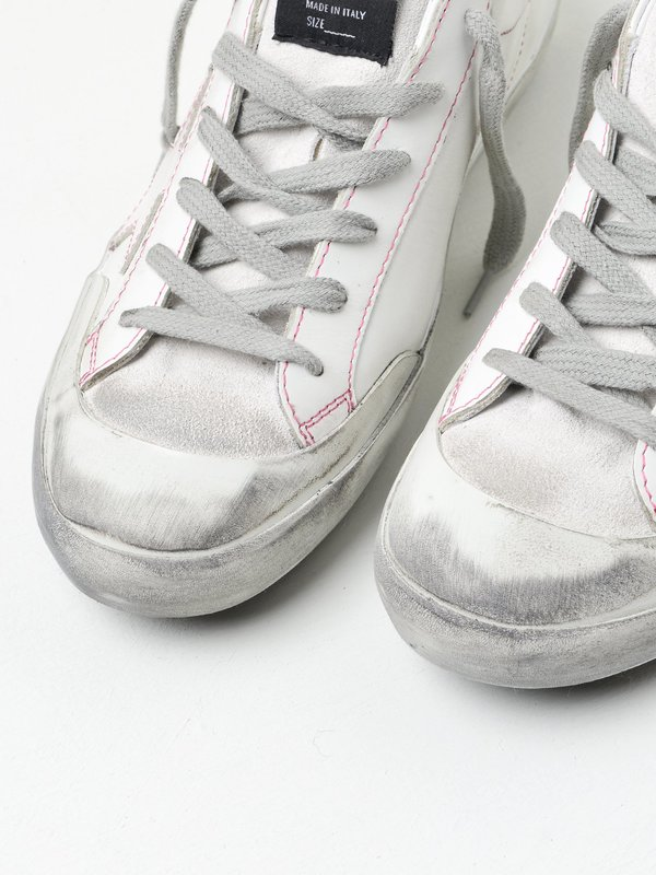 SNEAKERS SUPERSTAR_WHITE LEATHER FUXIA PENSTAR